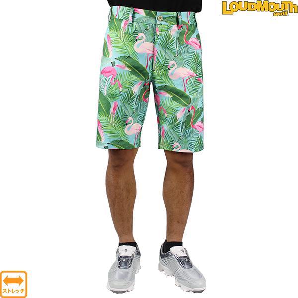 30%OFF 2019春夏 ラウドマウス LOUDMOUTH 769313-185 ハーフパンツ FlamingoGrotto フラミンゴグロット ゴルフウエア ストレッチ 大きいサイズ