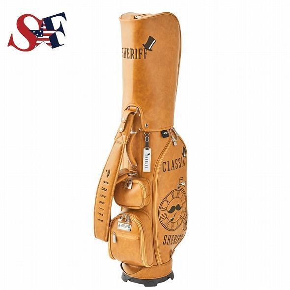 【先行予約】レトロな個性派 キャディバッグ 【SHERIFF】 シェリフ ゴルフバッグ メンズ レディース 数量限定 SFC-012CB-CARAMEL|golf-regolith