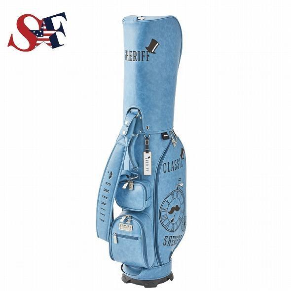 【先行予約】レトロな個性派 キャディバッグ 【SHERIFF】 シェリフ ゴルフバッグ メンズ レディース ターコイズ ブルー 数量限定 SFC-012CB-TURQUOISE|golf-regolith