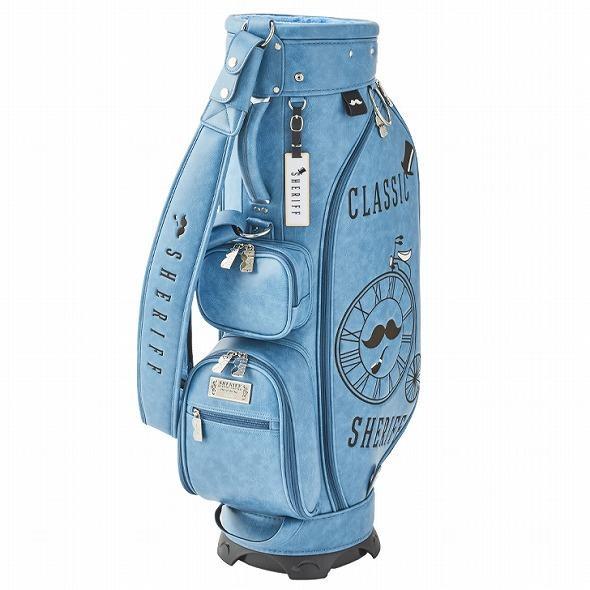 【先行予約】レトロな個性派 キャディバッグ 【SHERIFF】 シェリフ ゴルフバッグ メンズ レディース ターコイズ ブルー 数量限定 SFC-012CB-TURQUOISE|golf-regolith|02