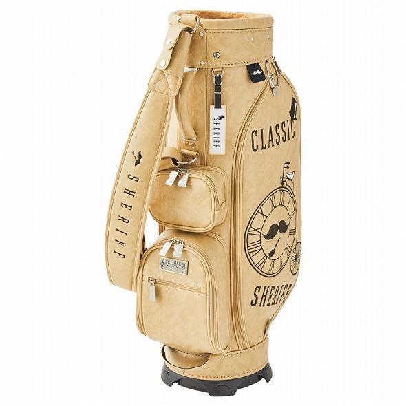 【先行予約】レトロな個性派 キャディバッグ 【SHERIFF】 シェリフ ゴルフバッグ メンズ レディース ベージュ 数量限定 SFC-012CB-VANILA golf-regolith 02