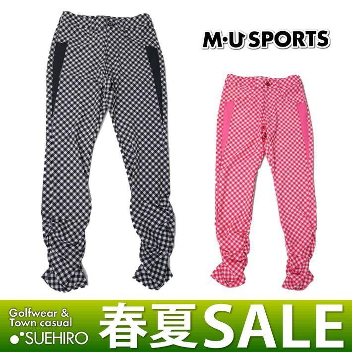 MUスポーツ ゴルフウェア ギンガム柄ロングパンツ (M/L/LL寸:レディース) 春夏 60%OFF/SALE