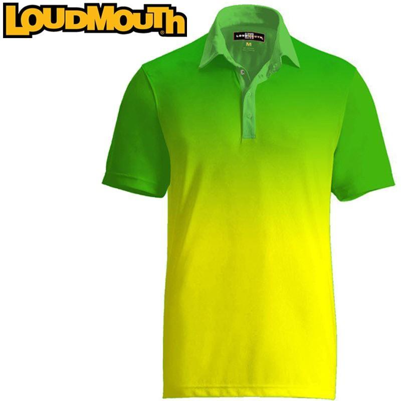 メール便送料無料 ラウドマウス ゴルフ メンズウエア 半袖 ポロシャツ パラマウントシャツ グリーン×イエロー Loudmouth