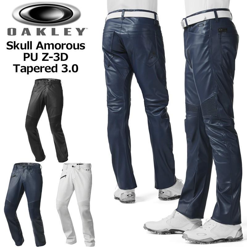 Oakley オークリー フェイクレザー ロングパンツ スカル アモーラス PU Z-3D テーパンド 3.0 422419JP Skull Amorous PU Z-3D Tape赤 3.0 春 秋 冬 18SS