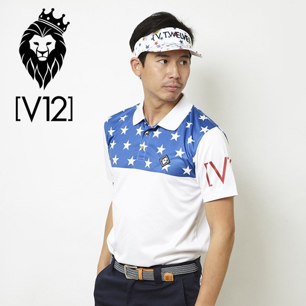 V12 ゴルフ ヴィ・トゥエルヴ メンズ ハーフスター 半袖 ポロシャツ V121810-CT09 75/ブルー 春夏 18SS ゴルフウェア