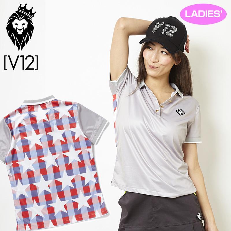 V12 ゴルフ ヴィ・トゥエルヴ レディース STAR CHECK 半袖 ポロシャツ V121810-CT13 15/グレー 春夏 18SS ゴルフ レディースウェア