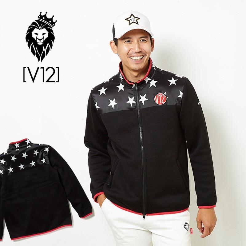 V12 ゴルフ ヴィ・トゥエルヴメンズ 長袖 ブルゾン HALF STAR ZIP KNIT V121820-JK03 19/ブラック 18FW ゴルフ メンズウエア アウター