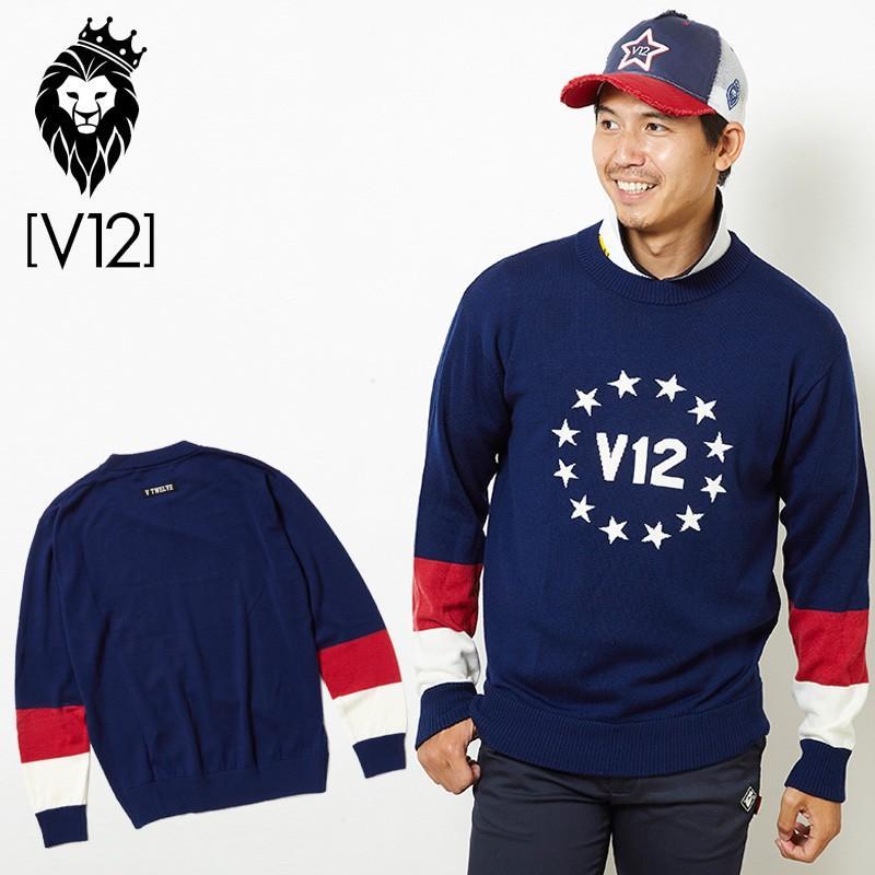 V12 ゴルフ ヴィ・トゥエルヴ メンズ セーター V121820-KN03 CIRCLE STAR KNIT 78/NAVY 18FW ゴルフウェア トップス サークル スター クルーネック
