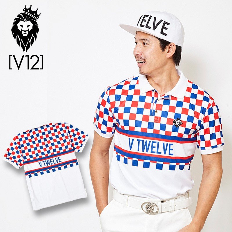 V12 ゴルフ ヴィ・トゥエルヴ 2019 メンズ VIOR チェッカーフラッグ柄 半袖ポロシャツ V121910-CT13 35/Trico 19SS ゴルフウェア 半袖 トップス JUN2