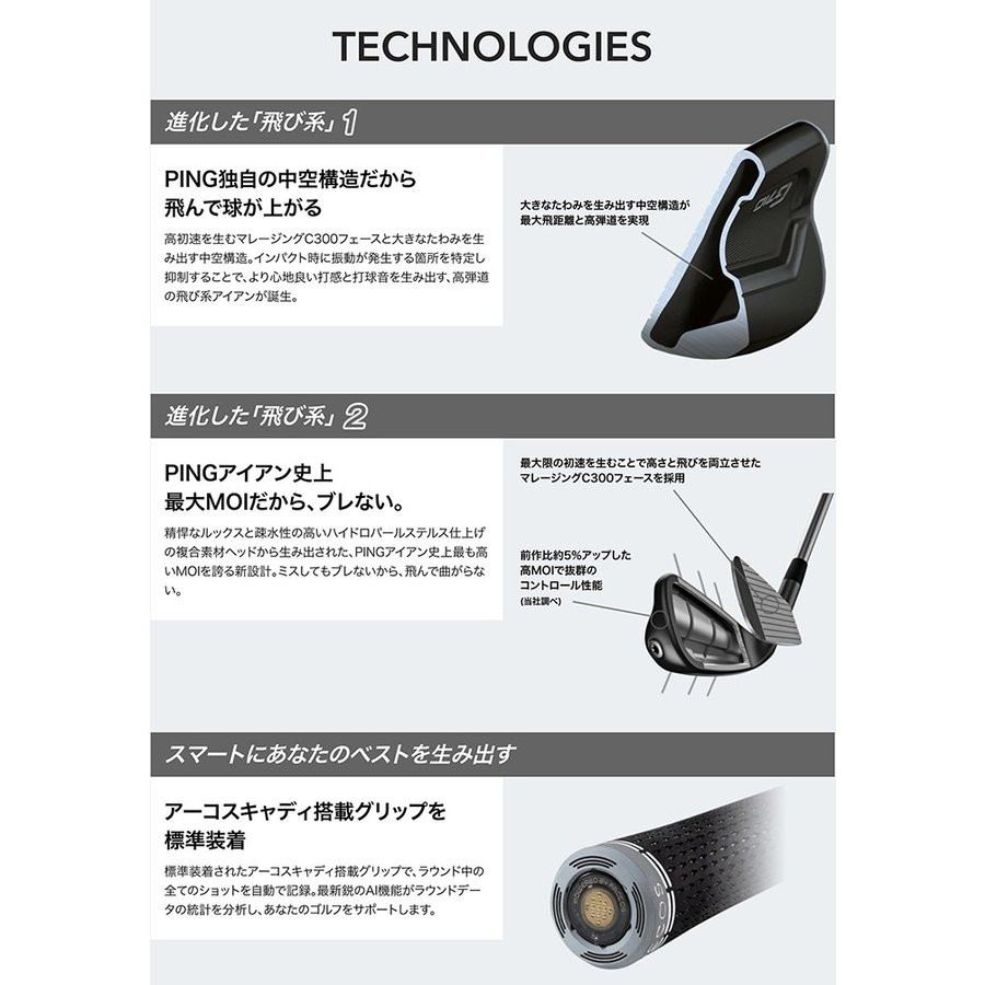 ピン ゴルフ G710 アイアン ゼロス NS PRO ZELOS 6 / 7  スチールシャフト 5本セット ( 6I〜PW ) PING|golf7|06
