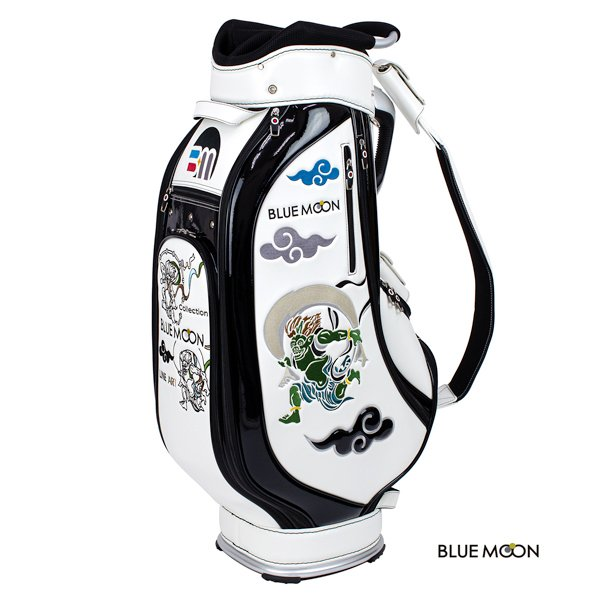 ブルームーン キャディバッグ 2021年モデル 風神雷神 C13-BMF ホワイト  9型 golfers 03