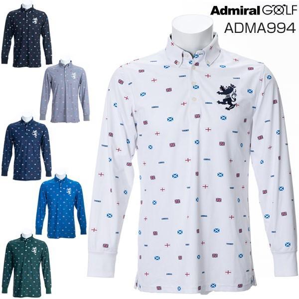 アドミラルゴルフ メンズ ゴルフウェア フラッグ総柄 長袖ポロシャツ ADMA994 2019年秋冬モデル M-XL