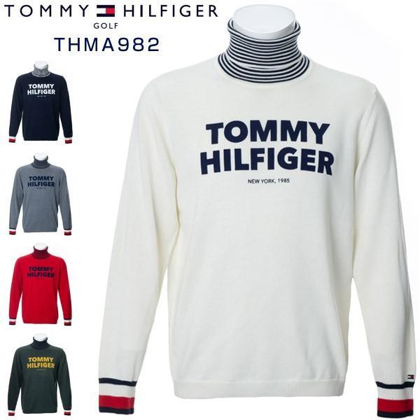 トミーヒルフィガー ゴルフウェア ロゴ タートルネック ニットセーター THMA982 2019年秋冬モデル M-XL