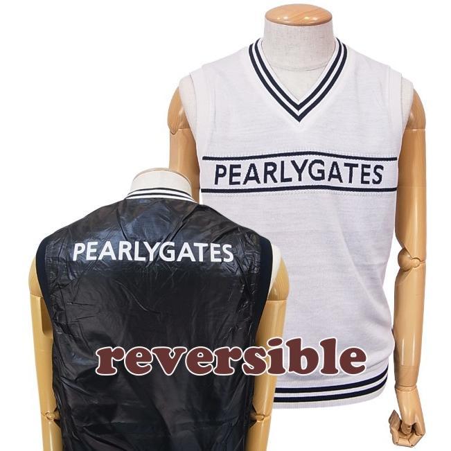 【NEW】PEARLY GATES パーリーゲイツ PGロゴライン メンズVネックリバーシブルベスト053-9273807/19C
