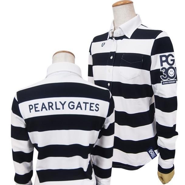 【NEW】パーリーゲイツ【30周年記念限定】30th Anniv. I'm PEARLY GATESフロッキープリント長袖ボーダーボタンダウンレディスシャツ055-9261804/19C【30TH】
