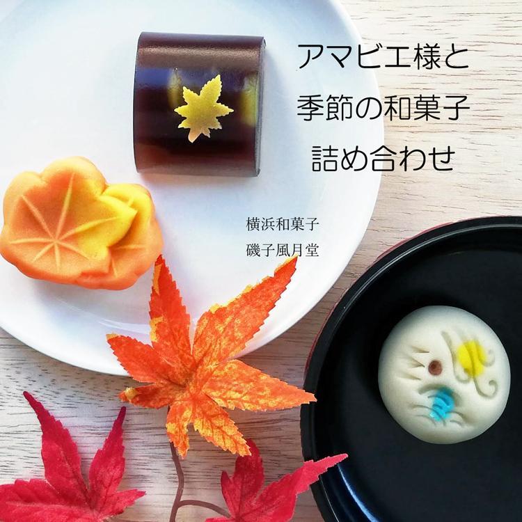 アマビエ様と秋の和菓子詰め合わせ 上生菓子 6個入り ギフト ご贈答用化粧箱入り*受注生産品|gomadaremochi
