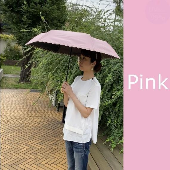 日傘 晴雨兼用 遮光 折りたたみ傘  超軽量 180g 遮熱 UVカット 100% 遮光 レディース かわいい スカラップ カット【ポイント消化】|good-eight|05