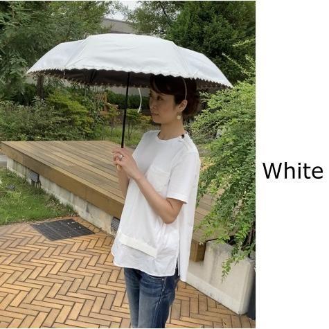 日傘 晴雨兼用 遮光 折りたたみ傘  超軽量 180g 遮熱 UVカット 100% 遮光 レディース かわいい スカラップ カット【ポイント消化】|good-eight|06