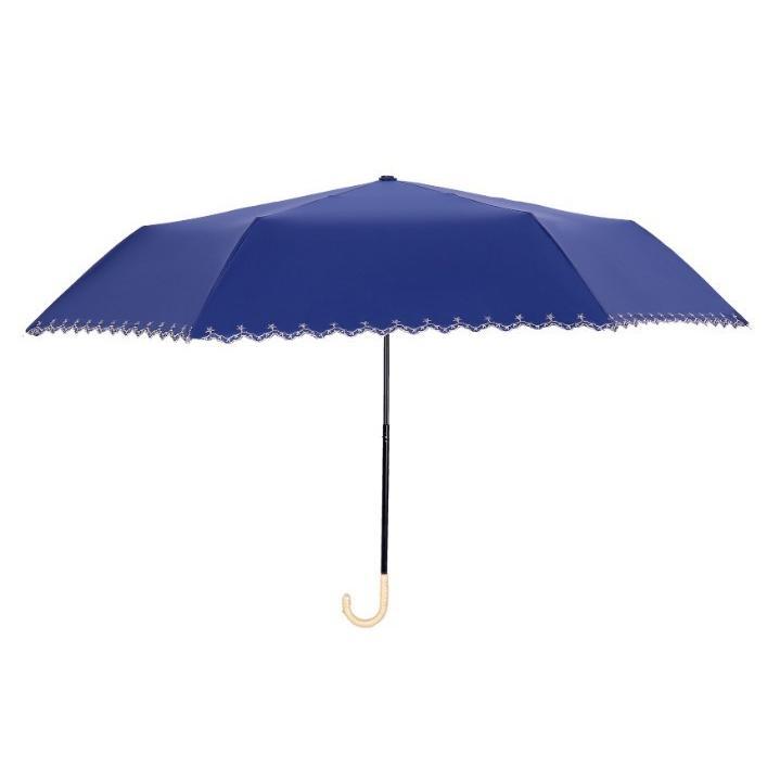 日傘 晴雨兼用 遮光 折りたたみ傘  超軽量 180g 遮熱 UVカット 100% 遮光 レディース かわいい スカラップ カット【ポイント消化】|good-eight|08