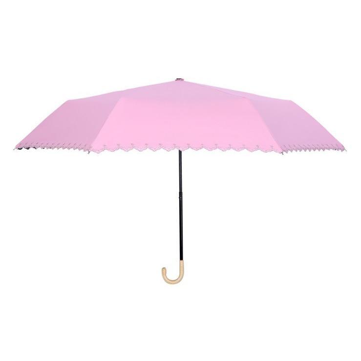 日傘 晴雨兼用 遮光 折りたたみ傘  超軽量 180g 遮熱 UVカット 100% 遮光 レディース かわいい スカラップ カット【ポイント消化】|good-eight|09