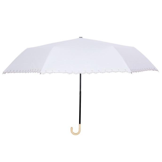 日傘 晴雨兼用 遮光 折りたたみ傘  超軽量 180g 遮熱 UVカット 100% 遮光 レディース かわいい スカラップ カット【ポイント消化】|good-eight|10