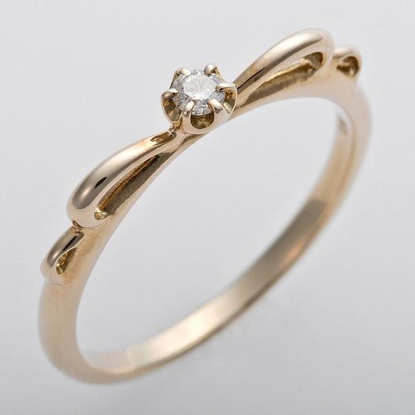 結婚祝い K10イエローゴールド 天然ダイヤリング 指輪 ピンキーリング ダイヤモンドリング 0.03ct 5号 アンティーク調 プリンセス リボンモチーフ, eBaby-Select 1e7a1983