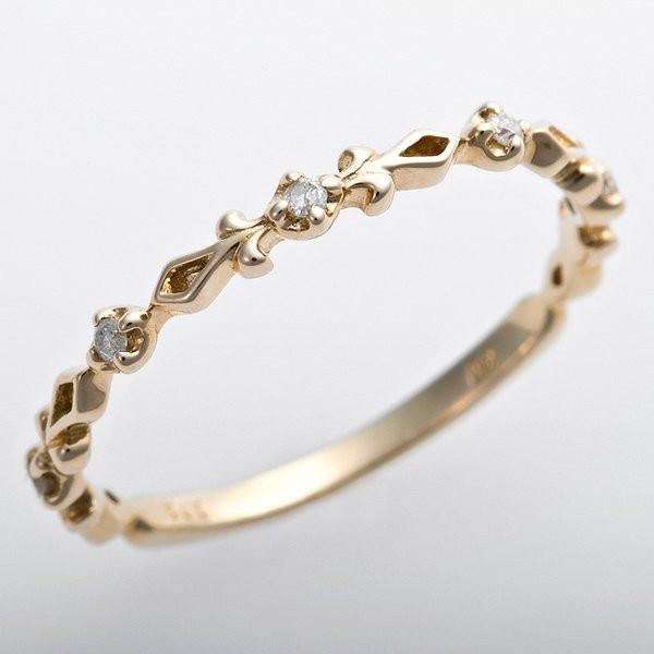 価格は安く K10イエローゴールド 天然ダイヤリング 指輪 ピンキーリング ダイヤモンドリング 0.03ct 1.5号 アンティーク調 プリンセス, サヨウチョウ affde3a2