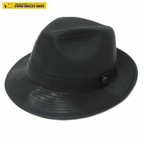中折れハット メンズ 帽子 洗える レザーハット 黒 牛革 本革 レザー GARYU PLANET ガリュープラネット メンズ 紳士 男女兼用 日本製 帽子【国内送料無料】