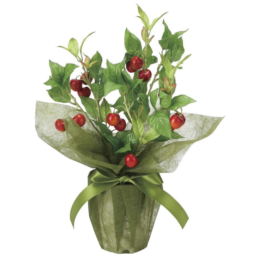 造花 観葉植物 「サクランボ 44cm」 光触媒 空気清浄 インテリアグリーン 56|goodfellow