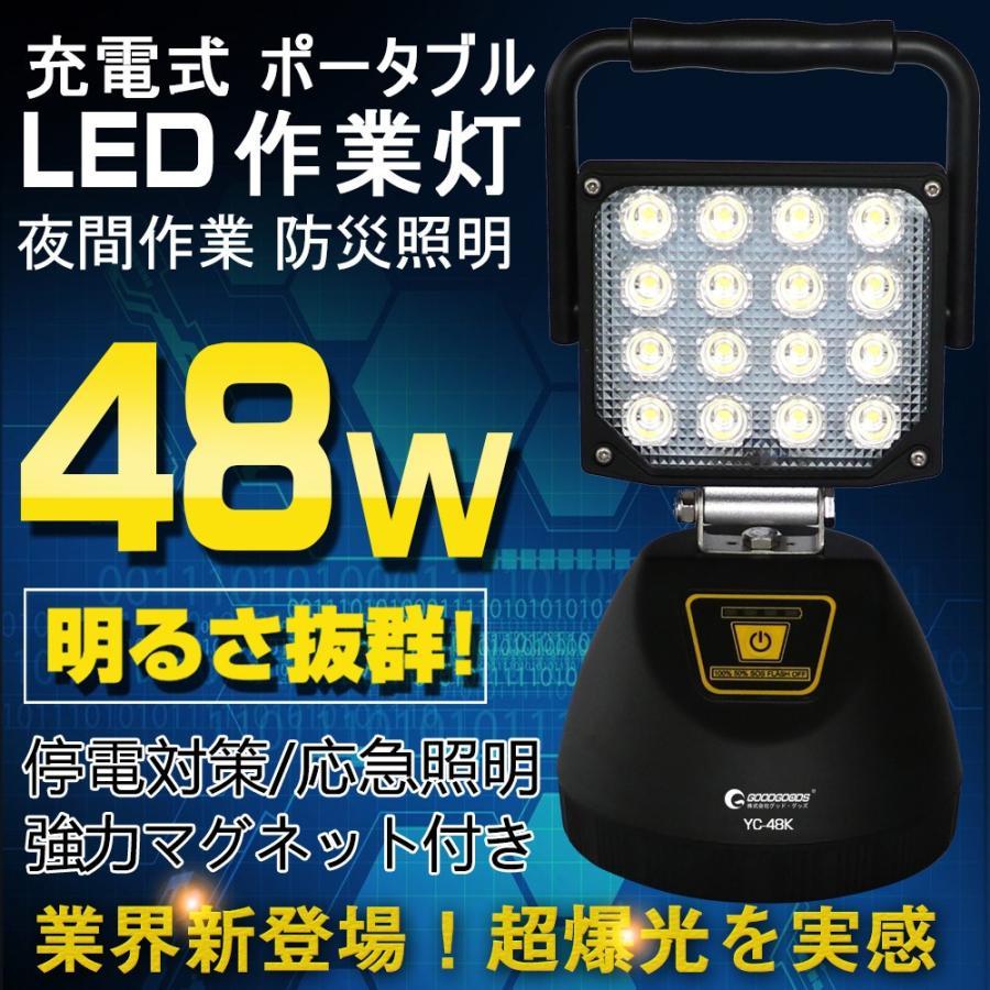 led作業灯 充電式 充電式 充電式 48w AC100V 投光器 5280lm 残量表示 ポータブル 作業灯 工事現場用投光器 屋外照明 一年保証 GOODGOODS 24c