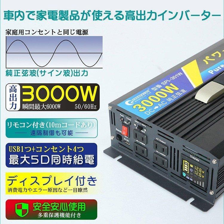 純正弦波 インバーター 発電機 DC12V→AC100V 定格1500W 瞬間最大3000W 車載 発電機 変圧器 非常用電源 カー用品 防災グッズ SPI150 goodgoods-2 02