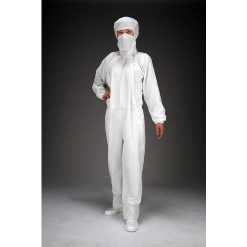ESCO[LL] クリーンルーム用フード付継ぎ服(白/サイドファスナー)[EA996DC-3]