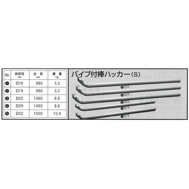 MIKI 鉄筋曲げハッカー ベンダー パイプ付棒ハッカー(S曲) 鉄筋D29用