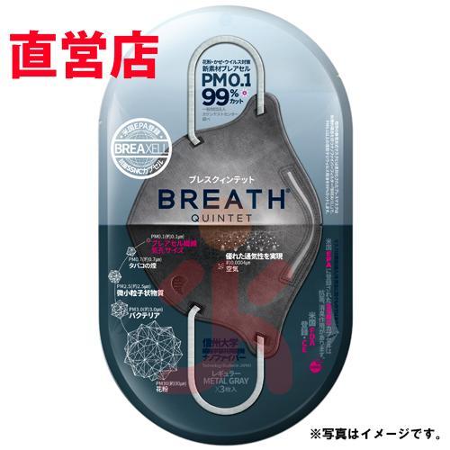 メーカー直営店 ナノマスク 信州大学共同開発 BREATH SILVER QUINTET MASK ブレスマスク レギュラー グレー  1袋(2枚入)PM0.1〜PM2.5対応|goodmall-japan