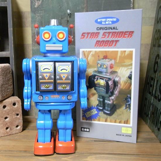 ブリキのおもちゃ ブリキの電動ロボット スターストレイダー ブルー