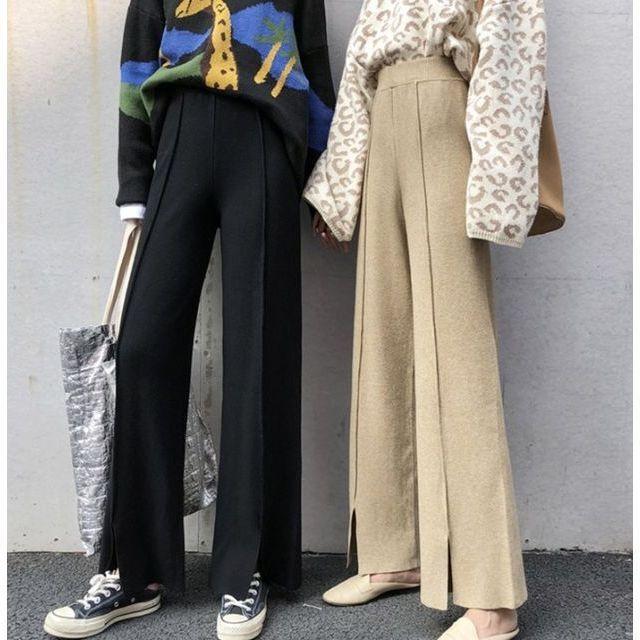 ワイド パンツ ガウチョパンツ ニットパンツ ハイウエスト センタープレス 裾スリット 体型カバー|goody1974pro