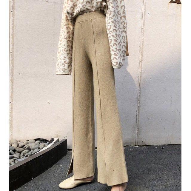 ワイド パンツ ガウチョパンツ ニットパンツ ハイウエスト センタープレス 裾スリット 体型カバー|goody1974pro|02