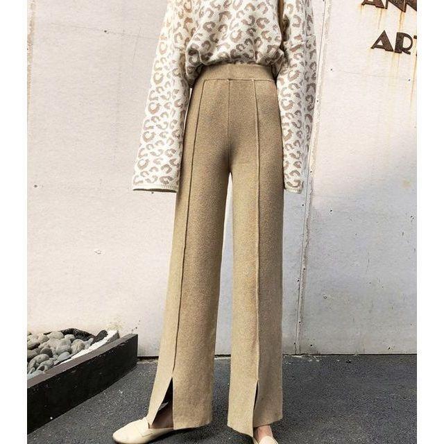 ワイド パンツ ガウチョパンツ ニットパンツ ハイウエスト センタープレス 裾スリット 体型カバー|goody1974pro|04