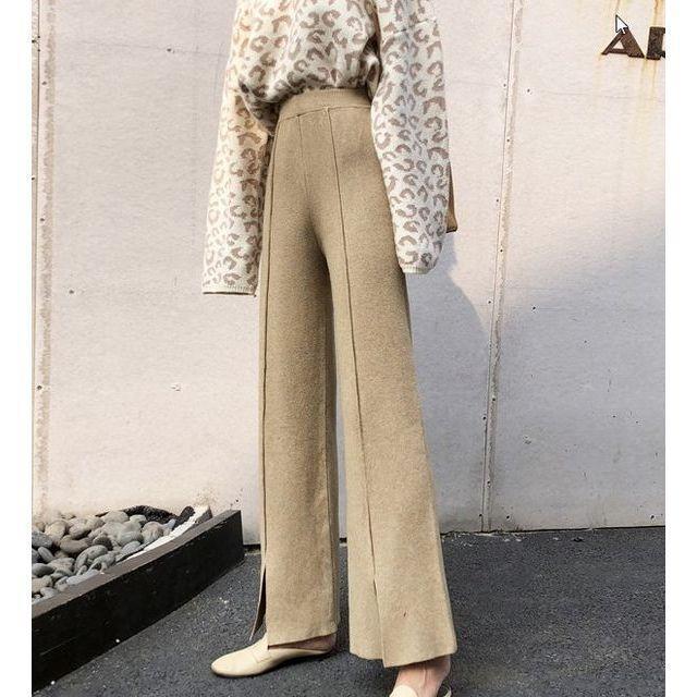 ワイド パンツ ガウチョパンツ ニットパンツ ハイウエスト センタープレス 裾スリット 体型カバー|goody1974pro|05