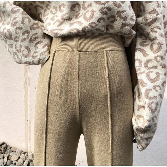 ワイド パンツ ガウチョパンツ ニットパンツ ハイウエスト センタープレス 裾スリット 体型カバー|goody1974pro|06