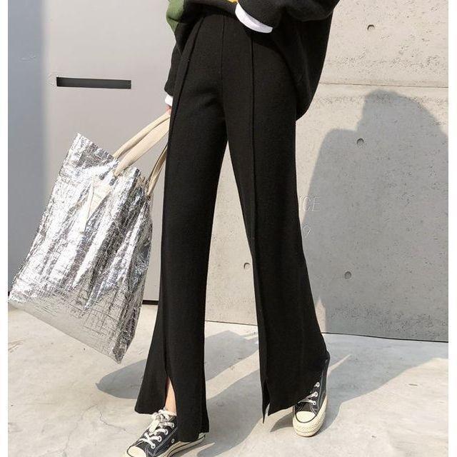 ワイド パンツ ガウチョパンツ ニットパンツ ハイウエスト センタープレス 裾スリット 体型カバー|goody1974pro|07
