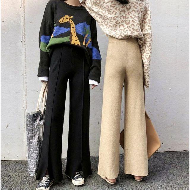 ワイド パンツ ガウチョパンツ ニットパンツ ハイウエスト センタープレス 裾スリット 体型カバー|goody1974pro|08