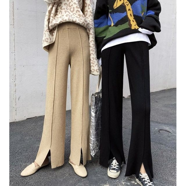 ワイド パンツ ガウチョパンツ ニットパンツ ハイウエスト センタープレス 裾スリット 体型カバー|goody1974pro|09