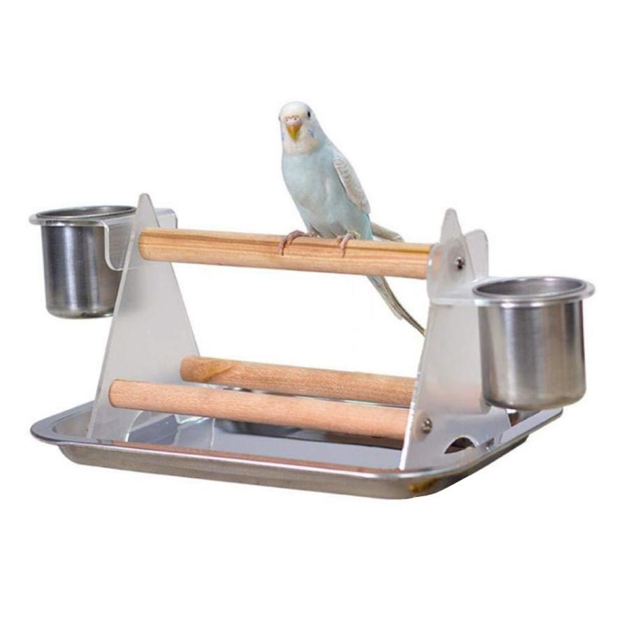 インコ ケージ 止まり木 スタンド 鳥 とまり木 鳥かご グッズ 小鳥 遊び場 食器 付き goovice