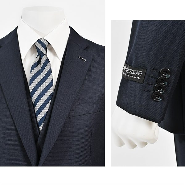 dc FICCE フィッチェ スリーピース スーツ メンズ スリム 春夏 30代/40代/50代  Y体 Y6 ネイビー|gorgons|03