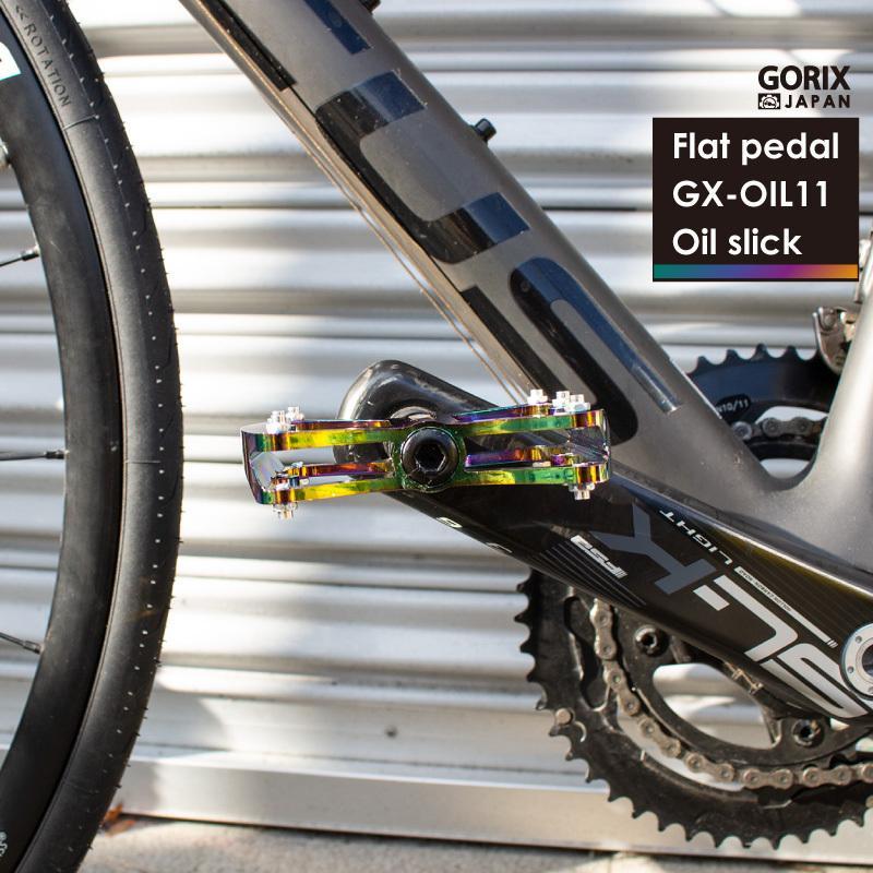 【あすつく 送料無料】GORIX 自転車ペダル 軽量 おしゃれデザイン ワイドな踏み面 (GX-OIL11) オイルスリック フラットペダル 滑り止めピン付き(俺のニジマス)|gottsu|11