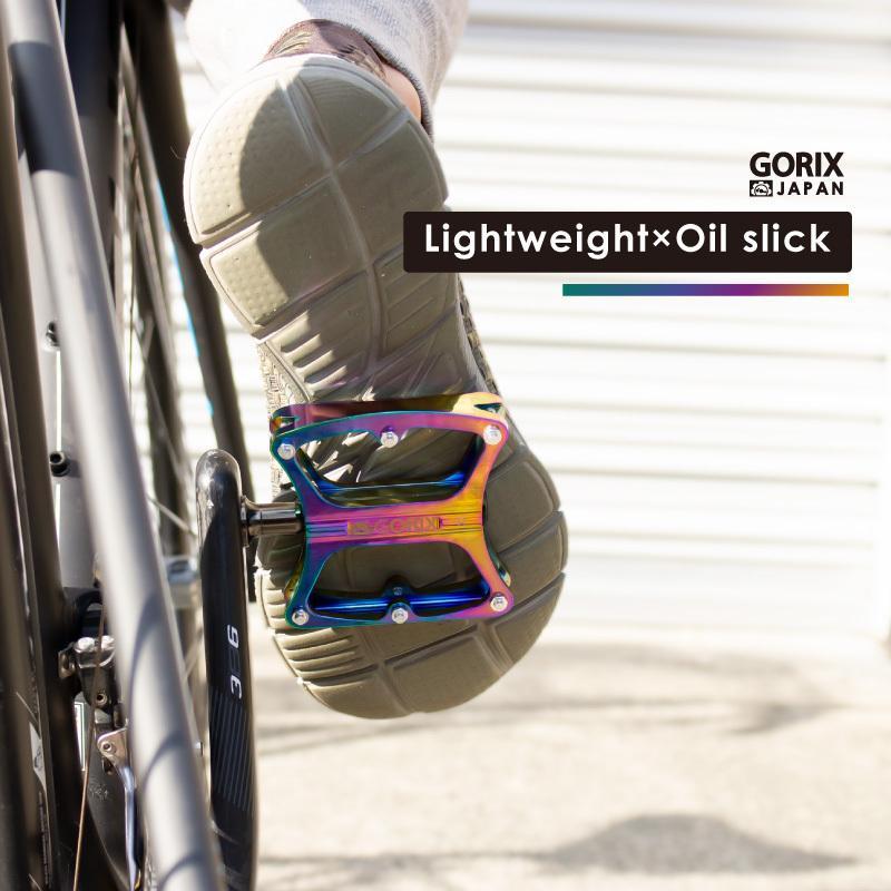 【あすつく 送料無料】GORIX 自転車ペダル 軽量 おしゃれデザイン ワイドな踏み面 (GX-OIL11) オイルスリック フラットペダル 滑り止めピン付き(俺のニジマス)|gottsu|06