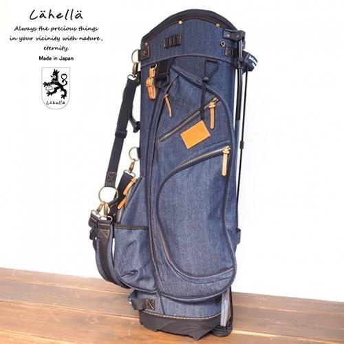 ラヘラゴルフ lahella golf デニムスタンドキャディバッグ 8.5インチ カラー:ネイビー(レザーカラー:キャメル) L510