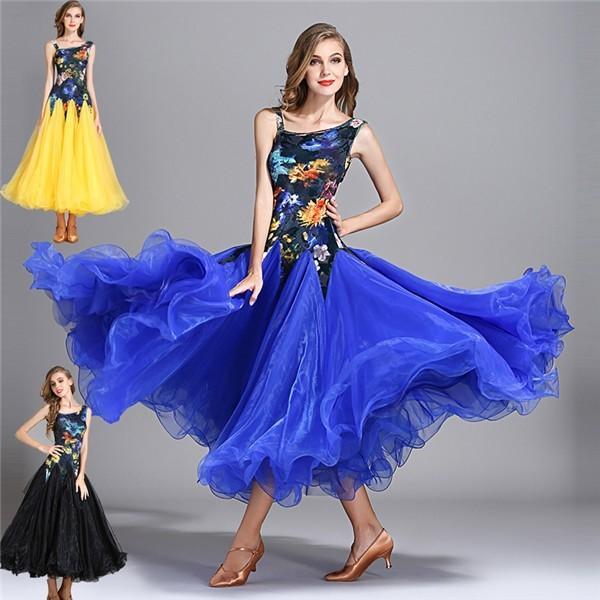 社交ダンス 衣装 モダンドレス ラテンドレス ラテン衣装 花柄 社交ダンスドレス ワンピース S~2XL ダンス衣装 スタンダードドレス ワルツダンス服 ブルー