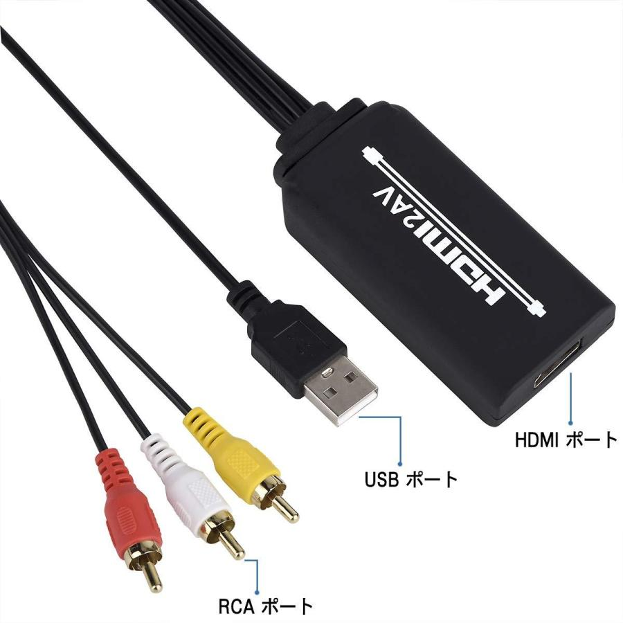 HDMI to RCA変換ケーブル HDMI to AVコンバータデジタル 3RCA/AV 変換ケーブル Apple TV/HDTV/Xbox/PC/DVD/ラップトップ/Blu-ray プレイヤー/PAL/NTSCテレビ/TV grandmano-omise 03